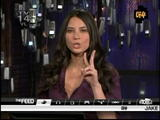 Olivia Munn low cut purple top video (aots)