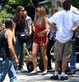 Lindsay Lohan shows legs on the set of Labor Pains in Los Angeles